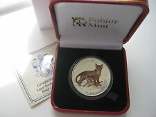 2010 SILVER PROOF CROWN, ABYSSINIAN CAT, COLOURED