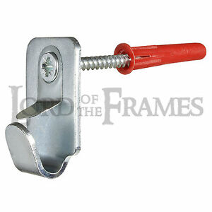 Heavy Duty Steel Safety Picture Frame Mirror Canvas Hooks 15kg + Screws & Plugs