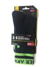 Under Armour Basketball Socks Men Crew Sock Sports Heatgear Black Green Medium