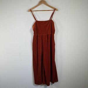 Dotti womens jumpsuit size 14 velour orange sleeveless square neck zip closure