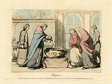 JOHN ATKINSON, BAPTISM IN RUSSIAN CHURCH-ORIGINAL ca 1803 HAND COLORED AQUATINT