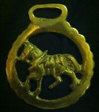 Vintage Harness Horse in Scalloped Frame Harness Horse Brass from Engalnd 3 3/8""