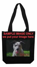 Customised / Personalised Black Cotton Bag with your full colour image on it.