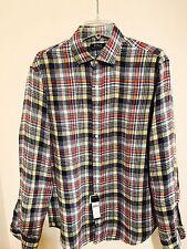 Designer Ralph Lauren Polo Men's Check Linen Shirt Large NEW
