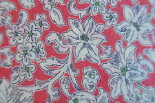 ONE VINTAGE FEEDSACK RED w/ WHITE FLOWERS  38x22(44) UNOPENED