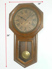 VINTAGE ! 50s' Traditional Octagon Chiming Wooden 7 Days Wall Clock