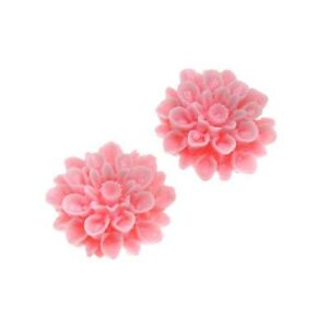 Lucite Flower Cabochons Chrysanthemums Pink 16mm (2)