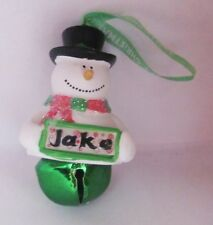 25347 JAKE NAME FROSTY SNOWMAN COLOUR BELL CHRISTMAS TREE DECORATION GIFT