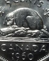 Canada 1960 Bald Beaver Variety Five Cents Gem BU!!