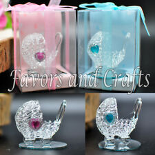 12 Baby Shower Favors Box Carriage Glass Recuerdos Blue Pink Gender Reveal