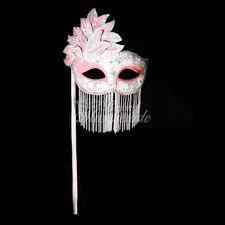 Handheld Stick Mask, Women Mardi Gras Beaded Masquerade Mask [Light Pink]