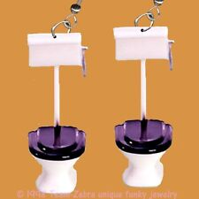 Funky Bathroom Commode Loo--TOILET EARRINGS--Funny Novelty Plumber Charm Jewelry