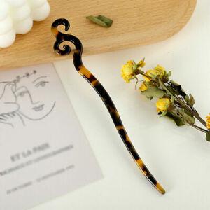 Women Vintage Chinese Style Hair Chopsticks Stick Acetate Hairpin Chignon Pin US