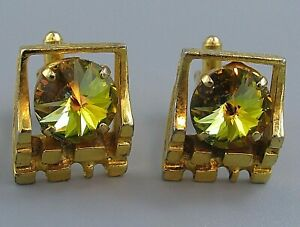 Mens Vintage CUFFLINKS FACETED YELLOW RIVOLI CRYSTAL Costume Jewelry L94