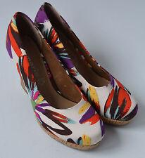 Ladies Tamaris Cream, Purple & Red Floral Cork Heeled Platform Shoes Size Uk 4