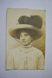 Postcard Young Lady Big Hat Portrait Posted Postmark c1911 Real Photo RP