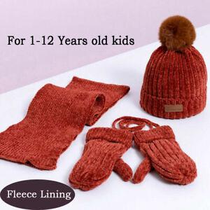 3pcs Baby Kids Winter Hat Scarf Gloves Set Girls Boys Fleece Warm Beanie Ski Cap