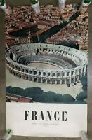 "Original Vintage 1956 Travel France Arles Amphitheater Photo Poster 24.5"" x 39"""