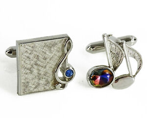 Swank Music Notes Vintage Cufflinks Mismatched Married Pair Treble Clef