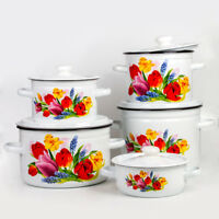 White Enamel Cooking Pot with Lid. Durable Enamelware Pots from Ukraine
