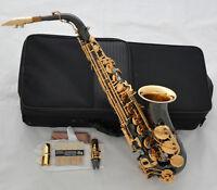 Professional Black Nickel Alto Saxophone Gold Bell Eb Sax Abalone + Matel Mouth