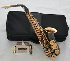 Professional Black Nickel Gold Bell Alto Saxophone Sax Abalone Free Matel Mouth