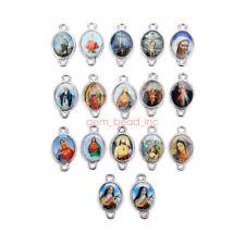 100Pcs Catholic Religious Crosses Enamel Pendants Holy Medals Connexctors 16mm