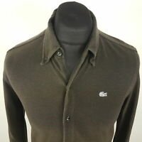 Lacoste Mens THICK Shirt SMALL Long Sleeve Green Regular Fit No Pattern Cotton