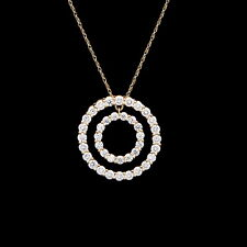 Double Circle Open Pendant 2ct. T.W. Created Diamond 14K Solid Yellow Gold 20mm