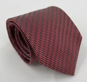Giorgio Armani Red & Black Herringbone 100% Silk Neck Tie Made in Italy