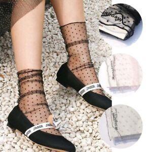 Dot Tulle Socks Women Transparent Thin Socks Knee Chiffon Dress Socks Fashion