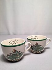 """2 SPODE """"CHRISTMAS TREE"""" COFFEE/TEA  CUPS UNUSUAL ROUNDED SHAPE, #S3324 - NEW"""