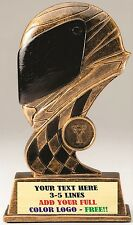 "THREE DIMENSIONAL RACING HELMET CAR SHOW TROPHY 7 1/2"" RESIN AWARD RACING MRF38"