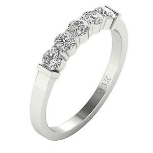 Five Stone Engagement Ring 0.75 Ct SI1 G Round Diamond Appraisal 14K White Gold