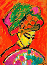 Young Girl with a Flowered Hat A2 by Alexej von Jawlensky Quality Canvas Print