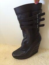 Y3 Yohji Yamamoto Adidas Womens Side Buckle High Wedges Boots Shoes  7B Size Uk5