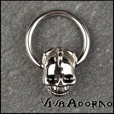 1,6mm BCR Klemmring Totenkopf Brust Piercing Ohr Intim Nippel Ring Gothic Z77