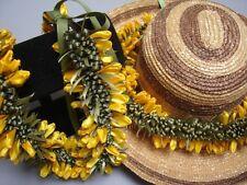 Hawaiian Ribbon Crocus Choker Lei Hat Band Yellow