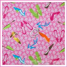 BonEful Fabric FQ Cotton Quilt Pink GIRL VTG Barbie Flip Flop Dress Shoes Flower