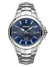 Seiko Men's Blue Dial Diamond Markers Stainless Steel Watch Sne443