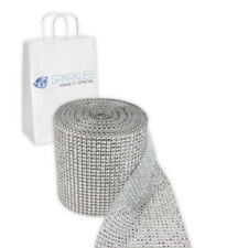 Silver 24 Row Crystal Diamond Rhinestone Ribbon Trim Wrap Mesh Banding 10 Yard