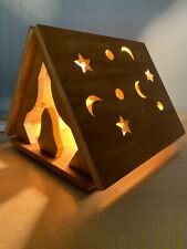 Handmade Unique Wood Table Lamp Quirky Wigwam Tent Design Children Nursery Room