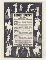 "PINEHURST NC Vintage 1906 HOTEL Recreation Resort Silhouettes 8x10"" REPRINT AD"