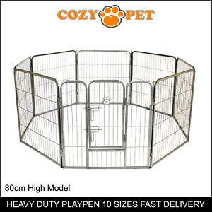 Heavy Duty Cozy Pet Puppy Playpen 80cm High 8 Panel Run Crate Pen Dog Cage