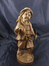 Vintage Holz Figur Wanderer Naturholz geschnitzt Figur Wanderjunge
