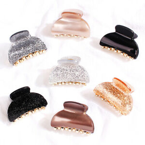Lady Fashion Hair Claw Shiny Acrylic Small Hairpins Glitter Ponytail Crab Clips