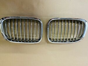 Pair Chrome Front Wide Kidney Grille Grill For BMW E39 5 series 98-03
