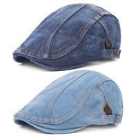 Men Classic Denim Duckbill Peaked Ivy Cap Golf Driving Flat Cabbie Beret Hat