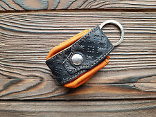 Leather Keychain Soft Children keyring Key Case Holder Bright Orange Present
