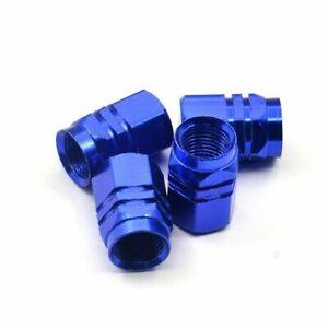 4pcs Universal Tire Wheel Dust Caps Air Stem Valve Blue For Car Truck Van Sport